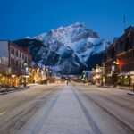 Evening view of main street of mountain town, Banff, in the Canadian Rockies.